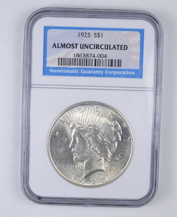 Almost Uncirculated 1925 Peace Silver Dollar - Graded NGC