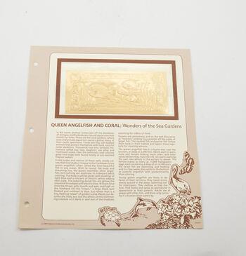 Antigua & Barbuda - $30 Queen Angelfish & Coral - 22K Gold Bank Note - Rare