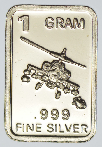 Apache Helicopter Military - 1 Gram .999 Fine Silver Bar