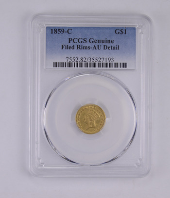 AU Detail 1859-C Indian Princess Head Gold Dollar - Filed Rims - Graded by PCGS