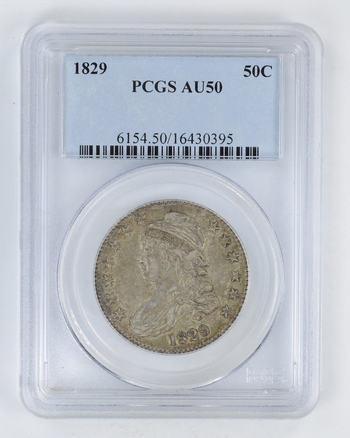 AU50 1829 Capped Bust Half Dollar - PCGS Graded
