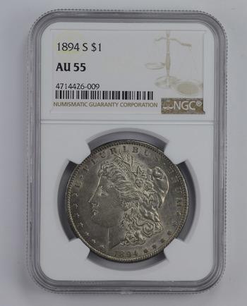 AU55 1894-S Morgan Silver Dollar - Graded NGC