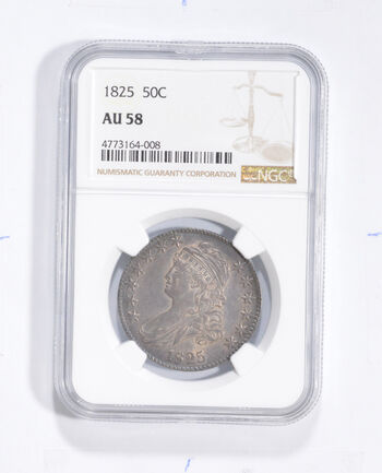 AU58 1825 Capped Bust Half Dollar - Graded NGC