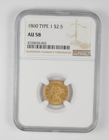 AU58 1860 $2.50 Liberty Head Gold Quarter Eagle - Type 1 - Graded NGC