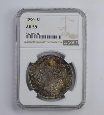 AU58 1890 Morgan Silver Dollar - Rainbow Toned - Graded NGC
