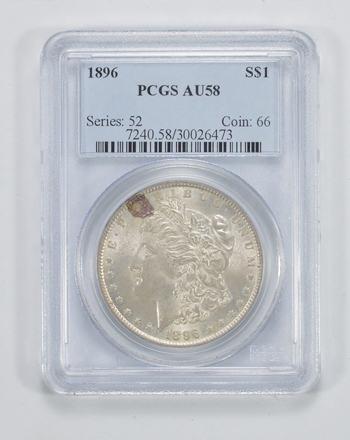 AU58 1896 Morgan Silver Dollar - PCGS Graded