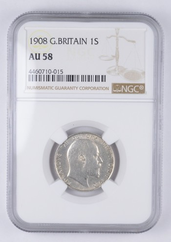 AU58 1908 Great Britain 1 Shilling - Graded NGC