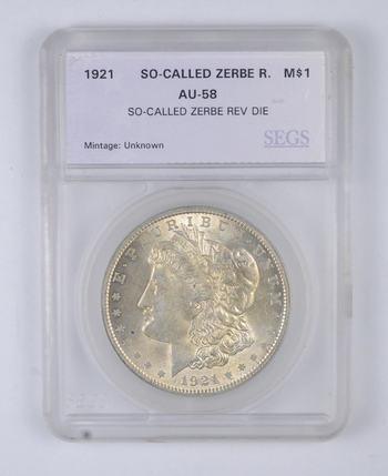 AU58 1921 Morgan Silver Dollar - So Called Zerbe Rev Die - Graded SEGS