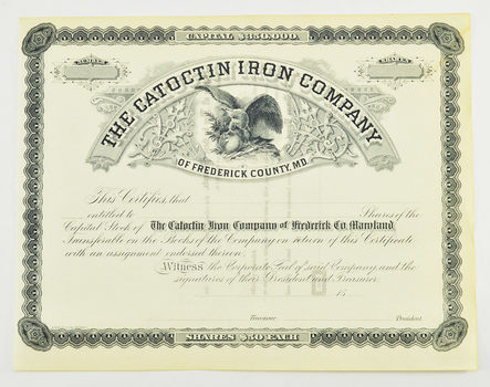 Authentic 1800s $50 Share - The Catoctin Iron Company Of Frederick County Maryland