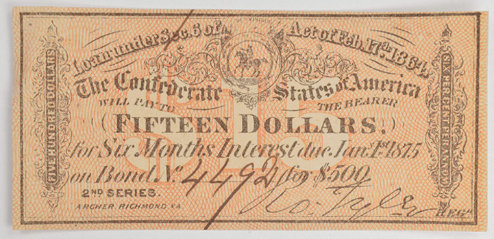 Authentic 1864 $15 Confederate Bond Coupon - Hand Signed And Numbered