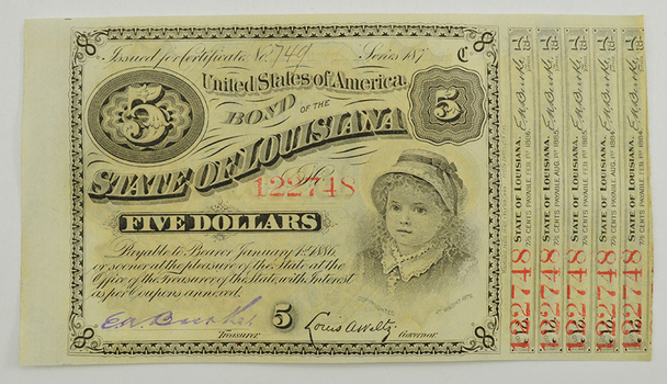 Authentic 1870s  $5 State Of Louisiana Baby Bond - Hand Signed And Numbered
