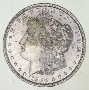 AU/Unc - 1886 Morgan Silver Dollar $1.00 High Grade