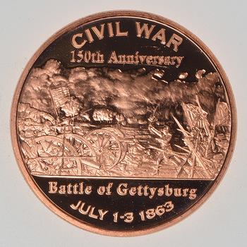Battle of Gettysburg - Civil War Series - 1 Oz .999 Fine Copper Round