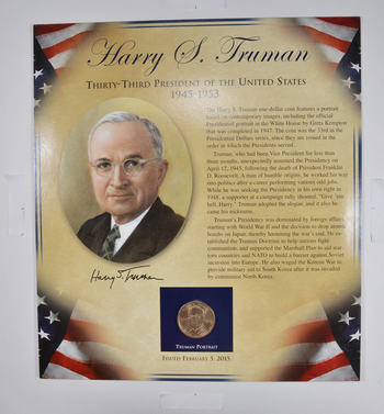 Beautiful - Full Color - $1.00 and Stamp United States Mint Presidential Dollar Display