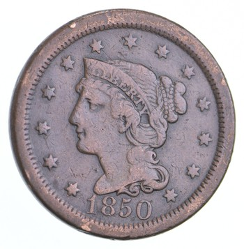 Better 1850 Braided Hair - US Large Cent Penny - Coin Collection Lot Set Break