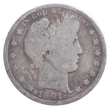 Better 1901 - US Barber 90% Silver Half Dollar Coin Collection Set Break