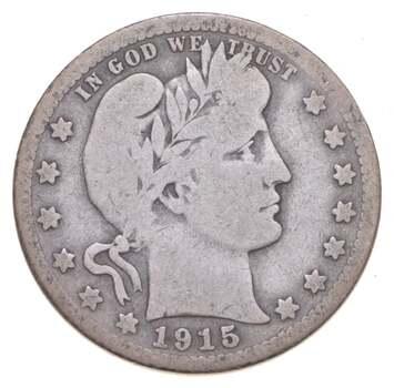 Better 1915-S - US Barber 90% Silver Quarter Coin Collection Set Break
