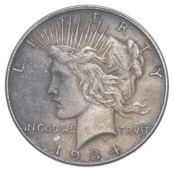 Better - 1934 - Peace Silver Dollar - 90% US Coin