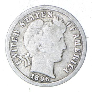 Better Date - 1896 Barber Silver Dime - 90% Silver - US Coin - Minted in Philadelphia