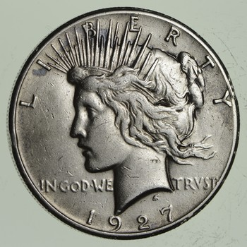 BETTER Date - 1927 Peace Silver Dollar - Nice Retail Value - 90% Silver US