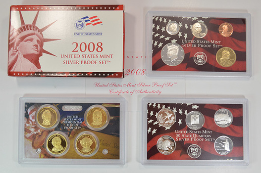 Better Date - Complete Silver 2008-S Deep Cameo Proof Set - 14 Coins Including Four Presidential Dollars