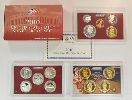 Better Date - Complete Silver 2010-S Deep Cameo Proof Set - 14 Coins Including Four Presidential Dollars
