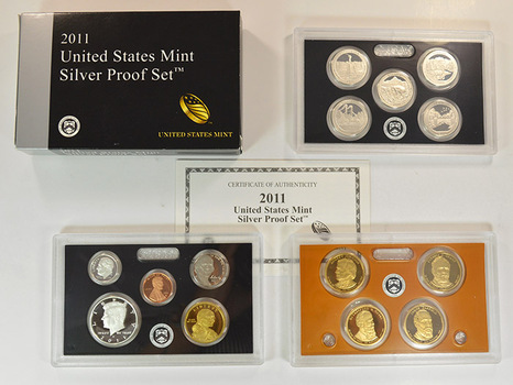 Better Date - Complete Silver 2011-S Deep Cameo Proof Set - 14 Coins Including Four Presidential Dollars