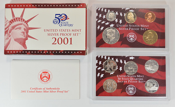 Better Date - Silver 2001-S 10 Coin Deep Cameo U.S. Proof Set - Includes 5 State Quarters and Sacagawea Dollar