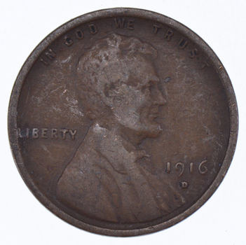 Better Grade - 1916-D Lincoln Wheat Cent - Tough - Denver Minted