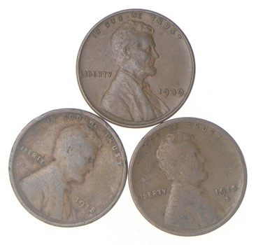 Better Lot of 3 Collection 1915-D & 1918 & 1939 Lincoln Wheat Cent