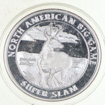 Big Game American Hunting - 1 Troy Oz .999 Fine Silver - Stunning PROOF Round!
