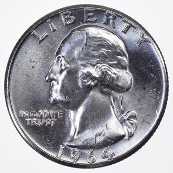 Blast White - Choice BU Washington Quarter 1964 - 90% Silver - Stunning