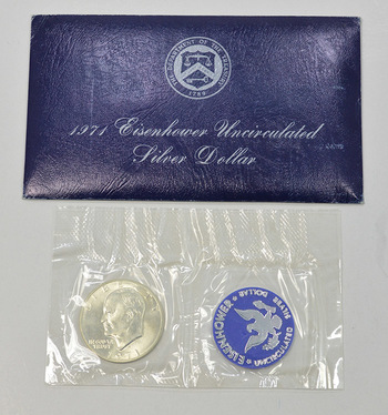 Brilliant Uncirculated 1971-S Silver (.400 Fine) Eisenhower Dollar - In original mint packaging