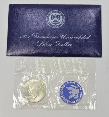 Brilliant Uncirculated 1971-S Silver (.400 Fine) Eisenhower Dollar - In original mint packaging