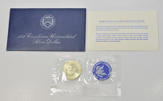 Brilliant Uncirculated 1972-S Silver (.400 Fine) Eisenhower Dollar - In original mint packaging