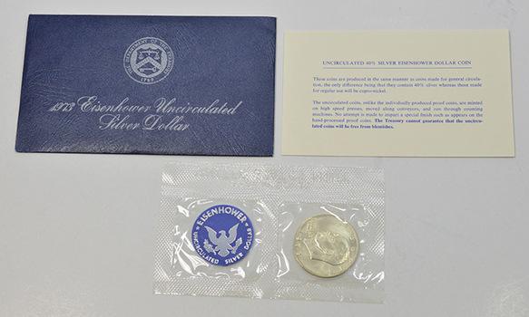 Brilliant Uncirculated 1973-S Silver (.400 Fine) Eisenhower Dollar - In original mint packaging
