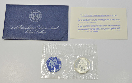 Brilliant Uncirculated 1974-S Silver (.400 Fine) Eisenhower Dollar - In original mint packaging