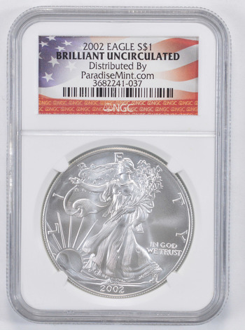 Brilliant Uncirculated 2002 American Silver Eagle - Slabbed NGC