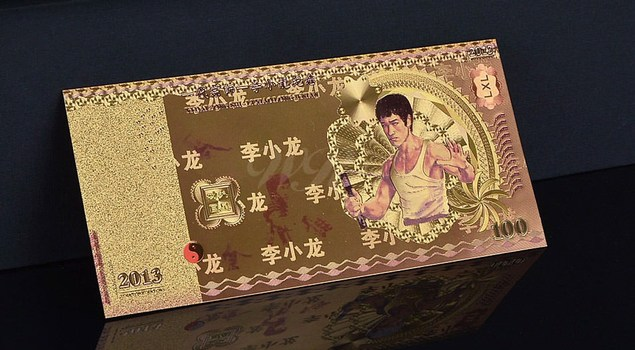 Bruce Lee 100 RMB Gold Colored-- Replica Bank Note