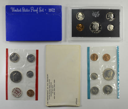 Bulk Deal: 1972 US Proof & Mint Sets - Coin Collection Bundle - 2 Sets - 1 Price with original mint packaging