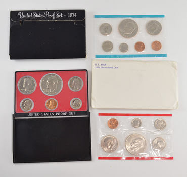 Bulk Deal: 1974 US Proof & Mint Sets - Coin Collection Bundle - 2 Sets - 1 Price with original mint packaging