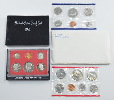 Bulk Deal: 1981 US Proof & Mint Sets - Coin Collection Bundle - 2 Sets - 1 Price with original mint packaging