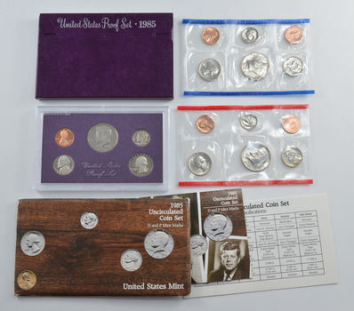 Bulk Deal: 1985 US Proof & Mint Sets - Coin Collection Bundle - 2 Sets - 1 Price with original mint packaging