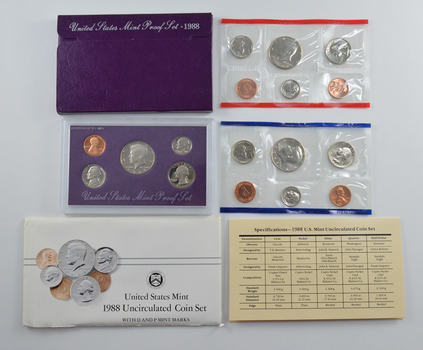 Bulk Deal: 1988 US Proof & Mint Sets - Coin Collection Bundle - 2 Sets - 1 Price with original mint packaging