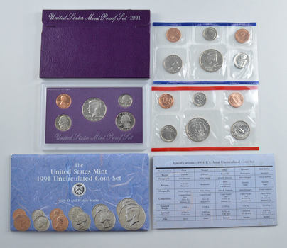Bulk Deal: 1991 US Proof & Mint Sets - Coin Collection Bundle - 2 Sets - 1 Price with original mint packaging