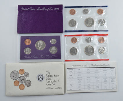 Bulk Deal: 1992 US Proof & Mint Sets - Coin Collection Bundle - 2 Sets - 1 Price with original mint packaging