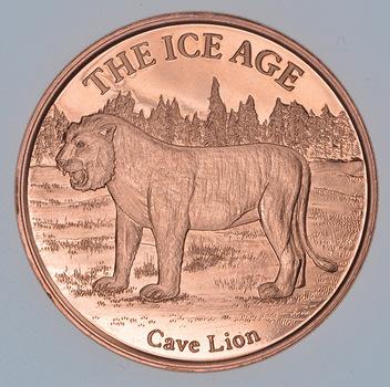 Cave Lion - Ice Age Series - 1 Oz .999 Fine Copper Round