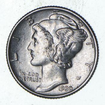 Ch AU/Unc 1930 Mercury Liberty Dime - 90% Silver - High Grade