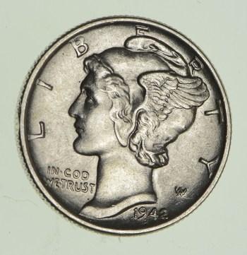 Ch AU/Unc 1942 Mercury Liberty Dime - 90% Silver - High Grade