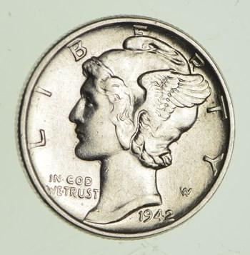 Ch AU/Unc 1943 Mercury Liberty Dime - 90% Silver - High Grade